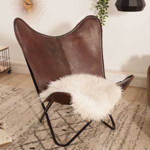 Retro Design Lounge Sessel BUTTERFLY braun mit Echtlederbezug schwarzes Gestell Leder Stuhl