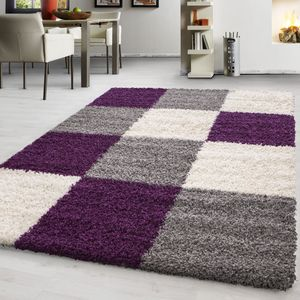 Teppich Hochflor Shaggy Teppich kariert teppich farbecht Pflegeleicht, Farbe:LILA,60 cm x 110 cm
