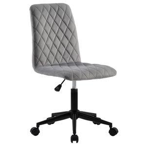 Samt Bürostuhl Schreibtischstuhl Computerstuhl Arbeitsstuhl Drehstuhl Verstellbare Höhe, Grau