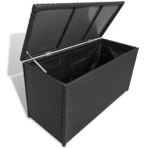 Huicheng Polyrattan Gartenbox Kissenbox Aufbewahrungsbox Schwarz 120×50×60 cm Mit Gasdruckfeder
