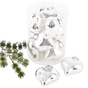 Weihnachtskugel Herz Premium 10er Set Glas 6x5x3cm silber