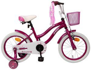 Amigo Flower - Kinderfahrrad für Mädchen - Mädchenfahrrad 16 zoll - Kinderfahrader ab 4-6 Jahre - Lila