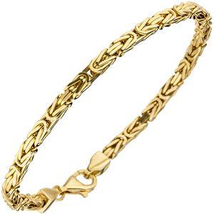 3,2mm Armband Königskette, 925 Silber gelbvergoldet diamantiert Armschmuck, 19cm