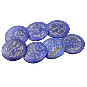 MagiDeal 7x Natürlicher Kristall Blauer Lapislazuli Gravierter Symbol
