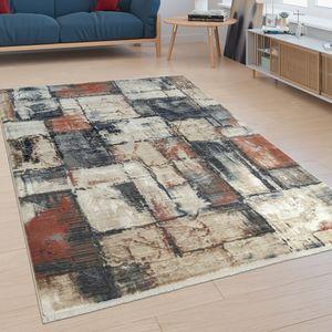 Kurzflor Wohnzimmer Teppich Abstraktes Design Modern Mosaik Optik Bunt, Grösse:160x230 cm