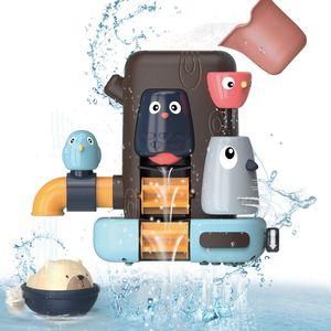 Badespielzeug Set für Baby Kinder, Multifunktionales Badewannenspielzeug, Kleines Vogelbaumhaus, Bär, Geschenke für Jungen und Mädchen