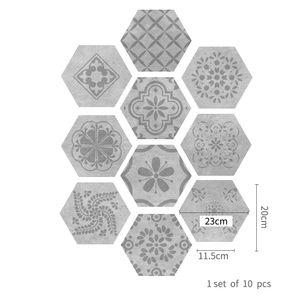 Bodenaufkleber Selbstklebender sechseckiger wasserdichter Wandboden Dekoration,Farbe: Graue Rebe,Größe:23x20cm