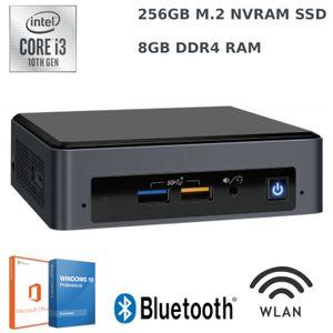 Intel NUC,  256GB M.2 SSD, 8GB RAM, Intel Core 10th Gen. i3 4,1 GHz, Windows 10 Pro, Microsoft Office, WLAN, Bluetooth, Mini-PC, USB 3.0, HDMI, Intel UHD Grafik, 4K Auflösung inkl.  NUC Wandhalterung / Monitorhalterung VESA Halterung