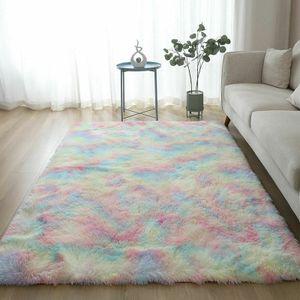 Regenbogen Übergroße Flauschige Teppiche Shaggy Area Rug Esszimmer Schlafzimmer Teppich Bodenmatte 80*200cm