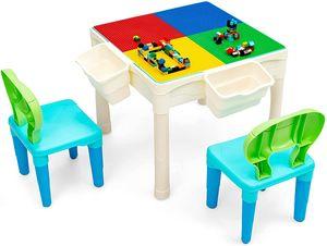 COSTWAY 6 in 1 Kinder Spieltisch mit doppelseitiger Tischplatte, Bausteintisch mit Aufbewahrungsboxen, Kindersitzgruppe mit Baustein Set, Kinder Schreibtisch und Zeichentisch für Kinder ab 6 Jahren