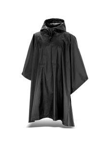 Black Snake® Regenponcho mit Kapuze aus wasserdichtem RipStop Nylon Material - Schwarz