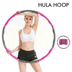 Hula-Hoop-Reifen Fitness  Abschnitte Reifen mit Einstellbares Gewicht Pink+Grau 88cm