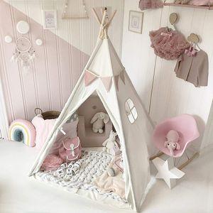 Tragbare weiße Kinderzelt Spielhaus Schlafkuppel Innen / Außen Kinder Tipi
