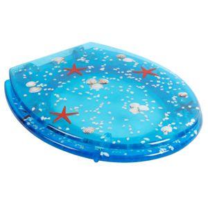 Design Duroplast WC Sitz mit LED Beleuchtung Blau | Klobrille Toilettendeckel | Toiletten Deckel Brille Nachtlicht | Licht Toilettenbrille Klodeckel