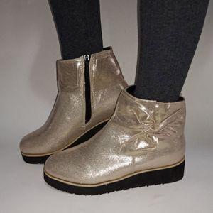 2021 New Fashion Damenstiefel Seitlicher Reißverschluss Schleife Keilabsatz Plus Size Kurze Stiefel Größe:43,Farbe:Gold
