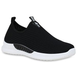 Mytrendshoe Damen Sportschuhe Slip On Sneaker Fitness Schuhe Strick Laufschuhe 833747, Farbe: Schwarz, Größe: 39