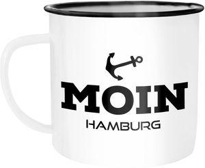 Emaille Tasse Becher Moin Hamburg Anker Kaffeetasse Moonworks® weiß-schwarz unisize