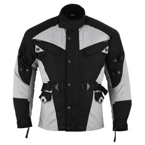 Motorradjacke Textilien Schwarz/Hellgrau, Größe:58/3XL