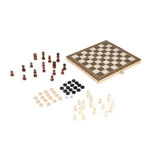 3 in 1 Schachbrettspiel Set Reise Brettspiel Schach Dame und Backgammon aus Holz