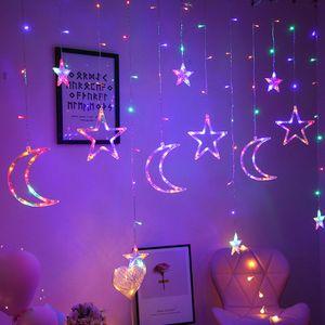 LED Vorhang Lichterketten Stern Mond Fee Girlande Hochzeitsfeier Weihnachten Nachbildung Lampe Bunt 3,5 m