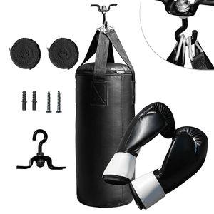 Fight Set 10kg Boxsack gefüllt Aufhängung Boxhandschuhe Sandsack Boxen Training