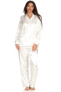 Satin Pyjama Streifendessin - innen angeraut 251 201 94 010, Größe:44/46, Farbe:Champagner