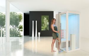 Infrarotkabine WELCON® Easytherm Solo - Sauna für eine Person - Tür bei Draufsicht in die linke Seitenwand integriert (wie Abbildung)