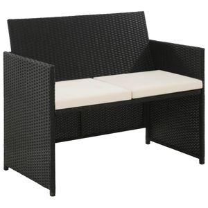 vidaXL 2-Sitzer-Gartensofa mit Polstern Schwarz Poly Rattan