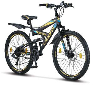 Licorne Bike Strong 2D Premium Mountainbike in 26, 27,5 und 29 Zoll - Fahrrad für Jungen, Mädchen, Damen und Herren - Scheibenbremse vorne und hinten - Shimano 21 Gang-Schaltung - , Farbe:Schwarz/Blau/Lime, Zoll:26