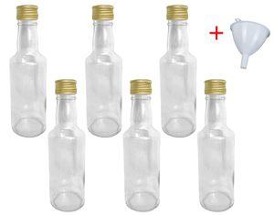 Glasflaschen 200 ml mit Schraubverschluss zum selbst Befüllen für Öl Likör Schnaps Bier Wasser Flasche leere Flaschen inkl. Trichter, Stückzahl:6x