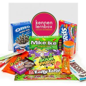 Süßigkeiten Box aus Amerika | Kennenlernbox mit 14 beliebten Süßigkeiten aus den USA | Geschenkidee für Weihnachten und Geburtstage