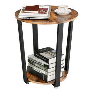 VASAGLE Beistelltisch mit Eisengestell 50 x 50 x 57cm Kaffeetisch runder Sofatisch Vintage stabil einfacher Aufbau Holzoptik LET57X