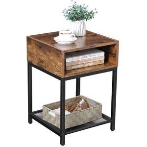 VASAGLE Nachttisch mit Gitterablage und offenem Fach 40 x 40 x 58 cm einfacher Aufbau Beistelltisch Industrie-Design platzsparend Vintage dunkelbraun LET46X