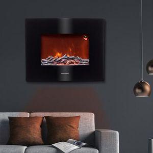 EASYmaxx Elektro-Wandkamin Flammeneffekt Schwarz 2 Heizstufen 4 Helligkeitsst.