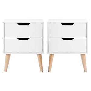 Tiema Nachttisch 2 Stück Nachtschrank mit 2 Schublade und Griffmulde, Nachtkommode Beistelltisch 45 x 35 x 56.5cm Holz Weiß