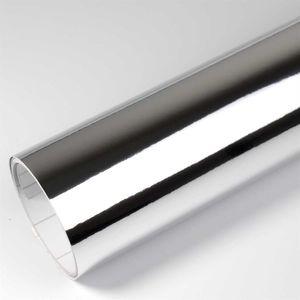 (8,55€/m²) Breite Rapid Teck® Premium Autofolie Chrom Superglanz Silber 152 cm Breite Laufmeterware selbstklebende Folie mit Luftkanälen Auto Folie chromfolie