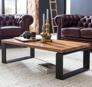 WOHNLING Couchtisch WL5.650 Sheesham 115x35x60 cm Massiv Holz Sofatisch mit Metallgestell   Wohnzimmertisch Rechteckig Massivholz Braun   Holztisch Modern   Tisch Wohnzimmer