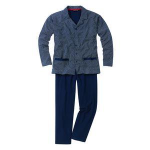 Götzburg Pyjama Alan in navy mit Muster Übergröße, deutsche Größe:58