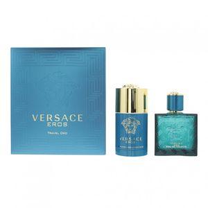Versace Eros Pour Homme Giftset EDT Spray 50ml/Deodorant Stick 75ml 740076 ITALIEN Karton @ 1 Satz x 125 ml