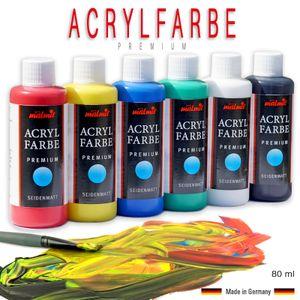 Acrylfarben Set 6 x 80ml Premium Künstlerfarben Malfarben hochdeckend Seidenmatt