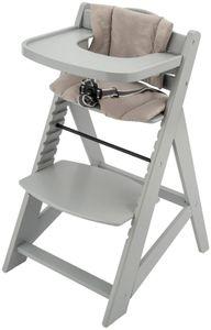 Mitwachsender Kinderhochstuhl Hochstuhl für Kinder, Höhenverstellbar, mit Essbrett, Fußstütze und Kissen, 3-Punkt-Sicherheitsgurt, Massivholz Grau