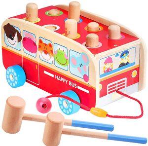 Klopfbank Holz Hammerspiel für Kinder ab 2 Jahre, 3 in 1 Ziehen Entlang Bus Spielzeug Hämmerchenspiel Holzspielzeug