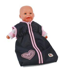 Puppen-Schlafsack, melange navy-grau