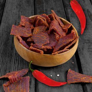 1kg Beef Jerky (8 x 125g) - Hot Chili von 3Yo Nutrition -  51% Protein Biltong Trockenfleisch Fitnesssnack