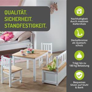 BOMI® Kindertischgruppe Anna mit integrierter Spielzeugkiste | Kindermöbel aus Kiefer Massiv Holz für Kleinkinder, Mädchen und Jungen Natur
