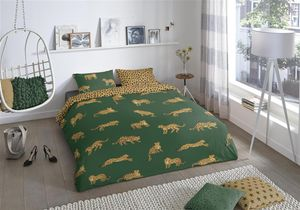 Good Morning bettbezug Leoparden 240 x 220 cm Baumwolle grün
