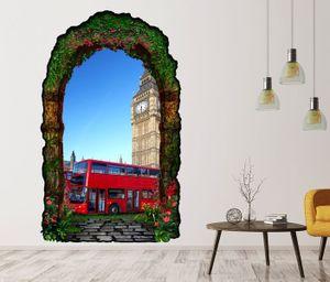 3D Wandtattoo geheime Tür Skyline London rot Bus Retro Gartentor Gewölbe Durchbruch Wand Aufkleber Wandsticker 11FN360, Größe in cm:97cmx160cm