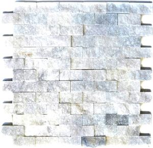 Mosaik Fliese Marmor Naturstein weiß Brick Splitface Ibiza Sugar Marble 3D MOS45-0204