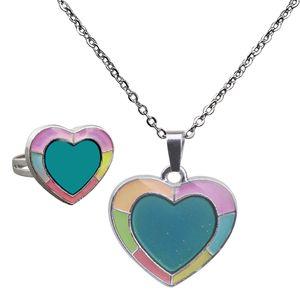 """Stimmungskette Stimmungsring \""""Herz\"""" (Anhänger verändert die Farbe) für Damen Mädchen Halsband Halskette"""