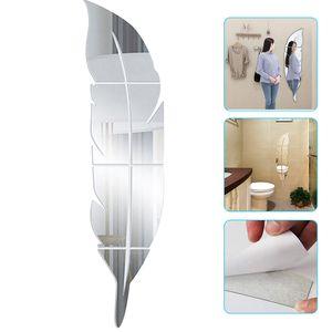 Wandtattoo Wandaufkleber, 3D Acryl Feder Wandspiegel, Modern Selbstklebende Wanddekoration für Badezimmer, Küche, Wohnzimmer, Umkleidekabine(L)